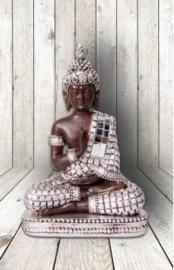600404 Boeddha zittend met spiegeltjes 14cm