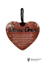 MDF hart met gedicht Lieve Oma