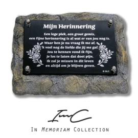 """1650 Houder met tekstplaatje  """"Mijn herinnering"""" compleet."""