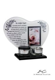 300674 NIEUW waxinehouder met urn '' In mijn hart''