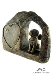 300743 Urn hond brons (zonder tekst)