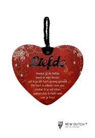 MDF hart met gedicht Liefde