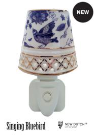 """500422 porseleinen nachtlampje """"singing bleu bird"""""""