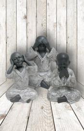 200957 Boeddha serie horen, zien enzwijgen 15cm hoog