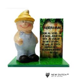 "700659 Abraham beeldje met tekst ""Ook al voel....."