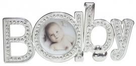 900125 Kinder fotolijst verzilverd met strass.