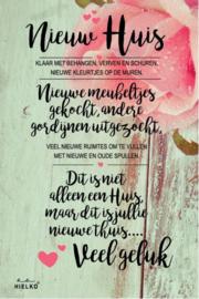"""685 Bloemenkaart met tekst """"Nieuw Huis"""""""