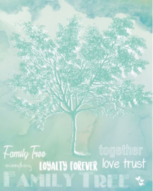 742 Familie stamboom gedrukt op metaal, zonder lijst.