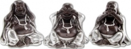 600417 Boeddha serie Horen, zien en zwijgen 7cm hoog