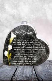 """621 Hart met asbuisje,en tekst """" In mijn hart """"."""