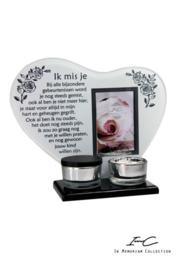 300672 NIEUW waxinehouder met urn '' Ik mis je''