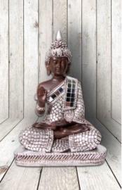 600405 Thai boeddha  zittend met spiegeltjes 14cm