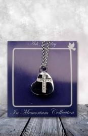 500465 As-sieraad met ketting hartje met kruis