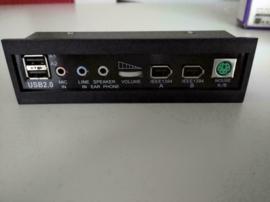 Recom 525 IO front ports black USB audio PS2