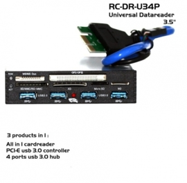 "RC-DR-U34P PCI-E usb 3.0 4x HUB 3,5"" internal cardreader"