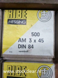Ribe M3x45MM bout messing vernickeld 500 stuks