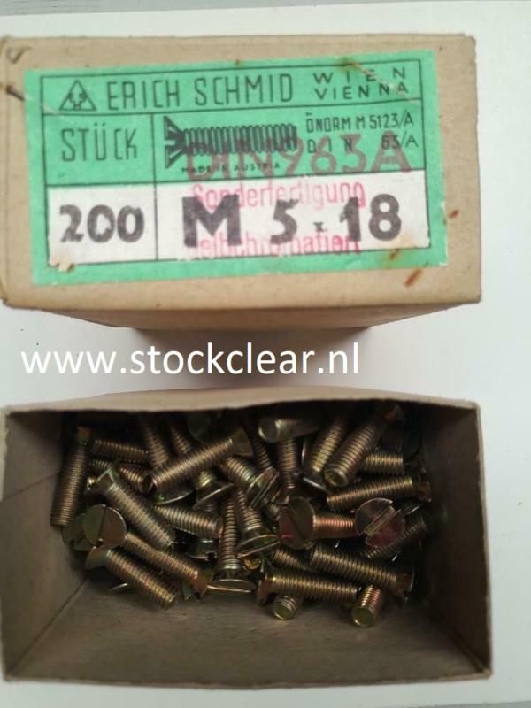 Erich Schimd M5x18mm flenskopbout 200 stuks