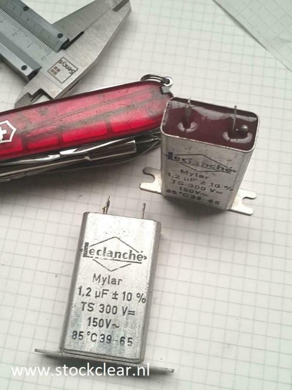 Leclanche 1,2uf  300v dc vintage Mylar condensator