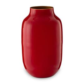 Ovalen vaas metaal rood