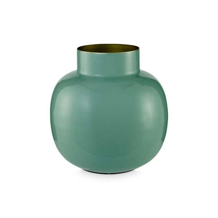 Ronde vaas metaal groen