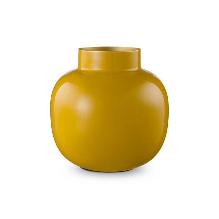 Ronde vaas metaal geel