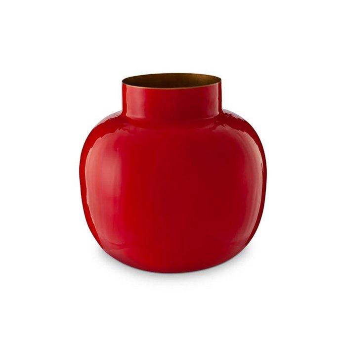 Ronde vaas metaal rood