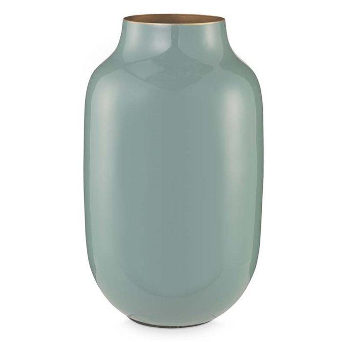 Ovalen vaas metaal blauw