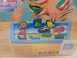 Houten blokjes speelset dinosaurus 24x24 cm prijs per stuk