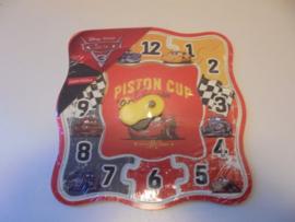 Houten puzzel klok Cars 22x22 cm prijs per stuk