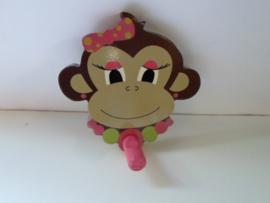 kinder kapstok aap meisje 13 x13 cm prijs per stuk