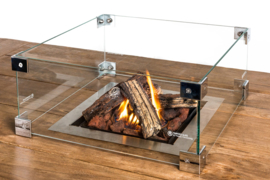 Glazen ombouw Cocoon Table inbouwbrander vierkant groot