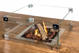 Glazen ombouw Happy Cocoon Table Inbouwbrander vierkant