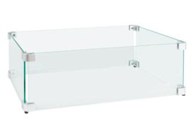 Easyfires Glazen Ombouw rechthoekig 54x29 cm RVS