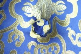 Klankschaal kussen blauw en goud - middelgroot
