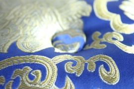Klankschaal kussen blauw en goud - klein