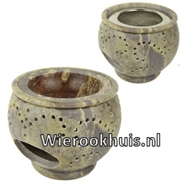Wierookbrander en olieverdamper zeepsteen - 9 cm