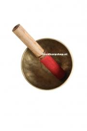 Klankschaal stok met rood suede