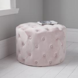 Pastel Roze Tufted Velvet Poef