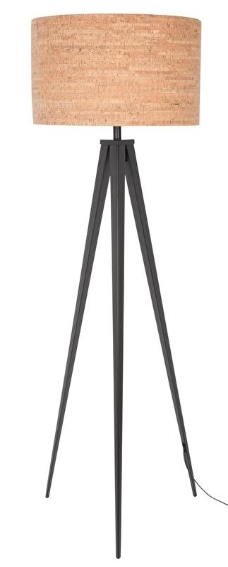 Zuiver Tripod Cork Vloerlamp Zwart