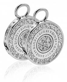 Zilveren creoolhangers wit dubbelzijdig