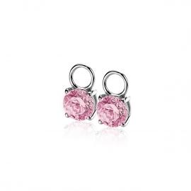 Zilveren creoolhangers rond roze