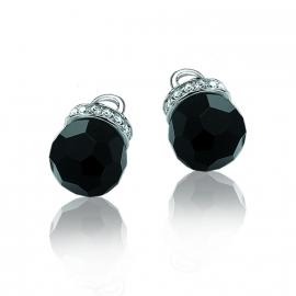 Zilveren creoolhangers met zirkonia's zwart