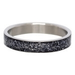 Glitter ring 4mm Zwart