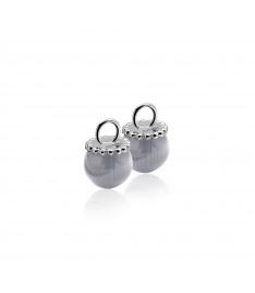 Zilveren creoolhangers grijs