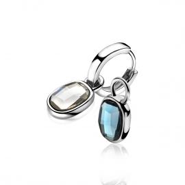 Zilveren creoolhangers jeans blauw & crystal wit