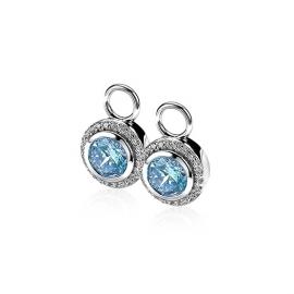 Zilveren creoolhangers blauw