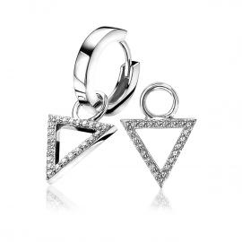 Zilveren creoolhangers driehoek wit