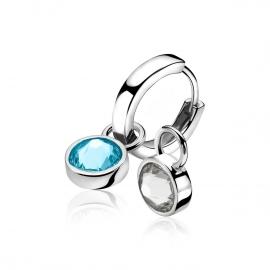 Zilveren creoolhangers aqau blauw & crystal wit
