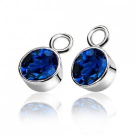 Creoolhangers rond zilver met blauw