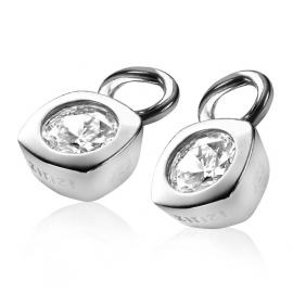 Creoolhangers vierkant zilver met wit